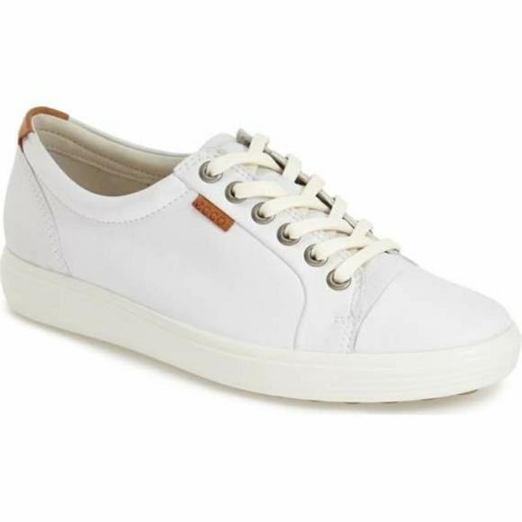 Ecco Shoes - Ecco White Leather Soft 7 Cap toe Sneaker ed00ab6a8886